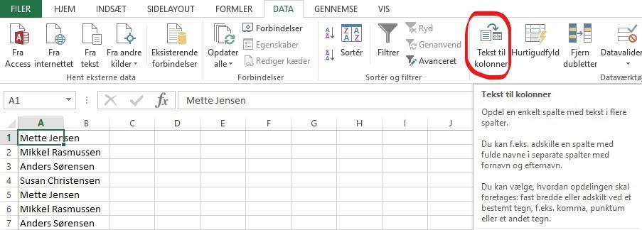 Screenshot af Excel Microsoft